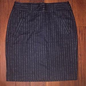 Loft navy wool pinstripe skirt Sz 4